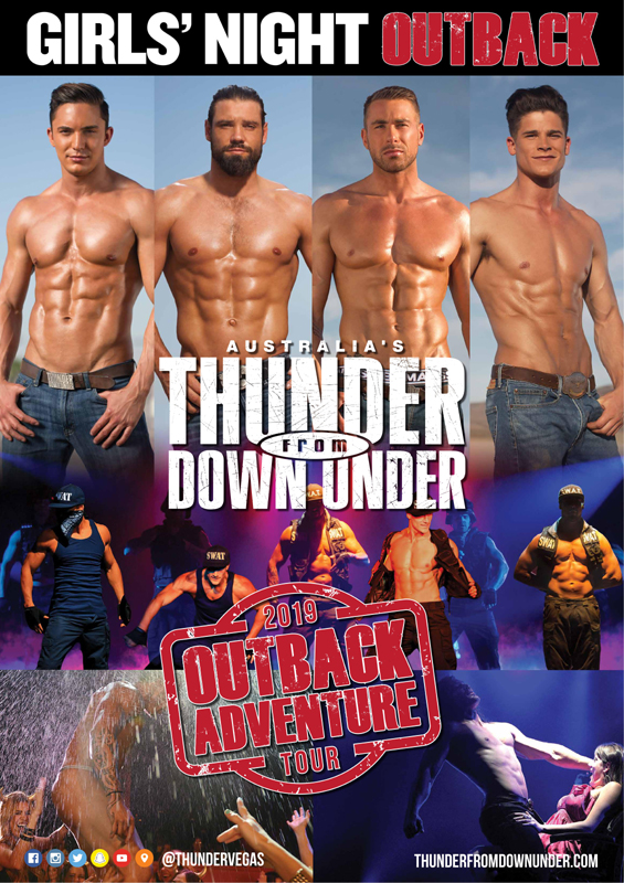 Menstrip-Gruppe Australia's Thunder from Down Under - Outback Adventure Tour 2019