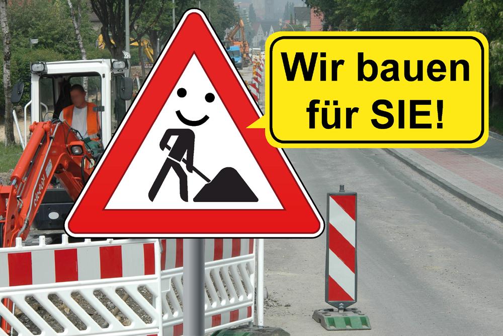 Bauarbeitenschild
